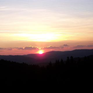 Sonnenuntergang am Alpenhaus