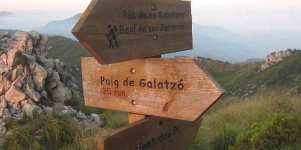 Wegmarkierung zum Puig de Galatzó