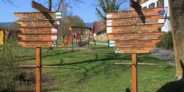 Wegweiser im Schlosspark