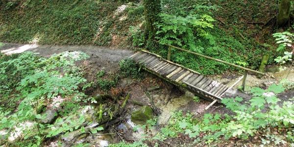 Ein Steg führt über den Katharinabach