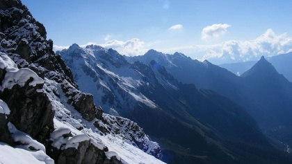 """Il panorama sulle vicinanze del """"Seescharte""""."""