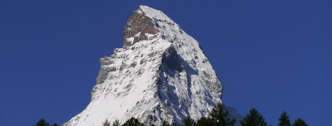 Blick auf das Matterhorn schon bei der Auffahrt mit der Bergbahn
