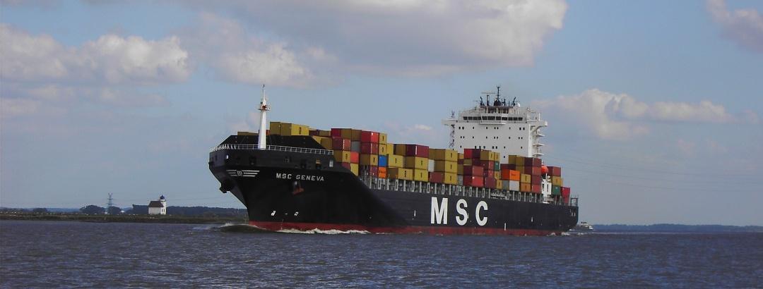 Schiff auf der Elbe vor Julesand