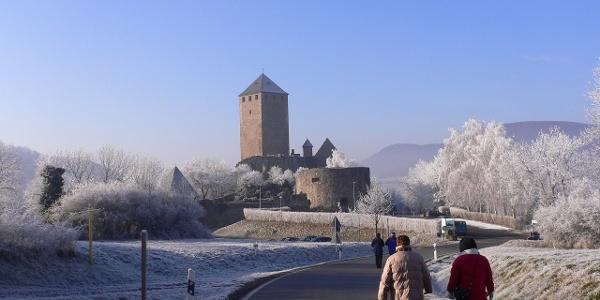 Schon von weitem ist die Burg Lichtenberg zu sehen.
