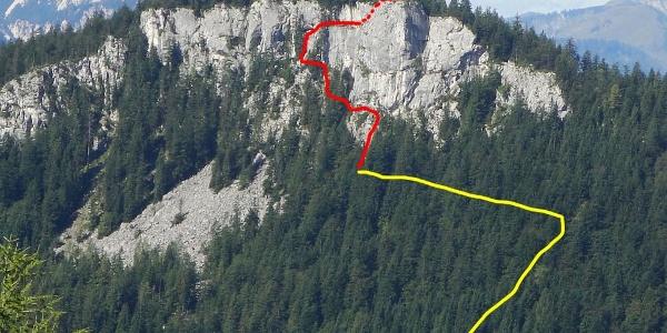 Leadership Übersicht - gelb:Zustieg / rot: Klettersteig