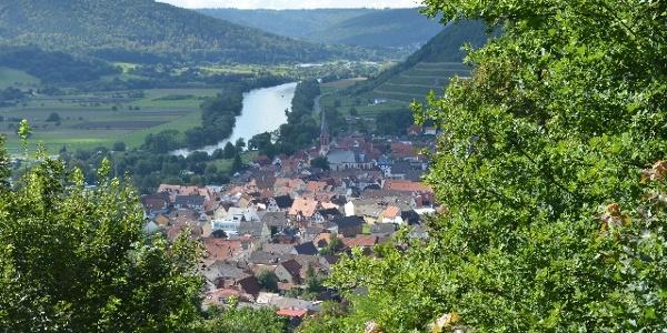 Blick vom Kloster Engelberg hinunter ins Maintal.