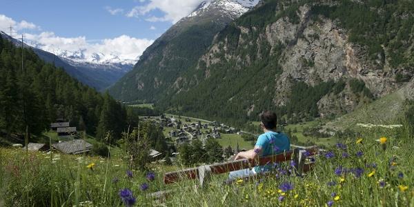 Paysage estival avec vue sur le village Randa