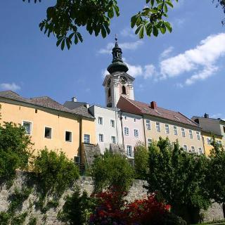 Freistadt mit Kirchturm vom Lederertal