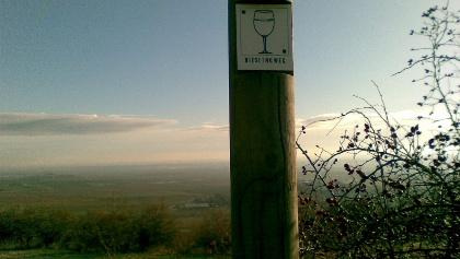 Unterwegs orientieren wir uns immer am Wegweiser, dem Weinglas auf weißen Grund.