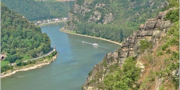 Uns zu Füßen fließt der Rhein.