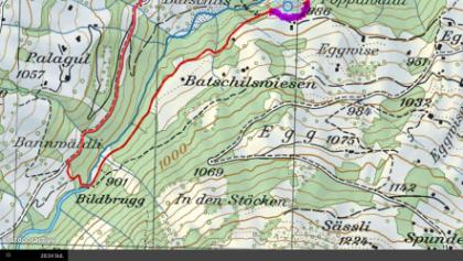 Weg führt per Stand September 2014 ab km 14.1 neu über die violett markierte Wegstrecke