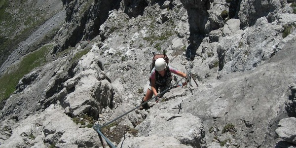 Die Absicherung im Saula-Klettersteig ist hervorragend.