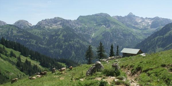 Bergkulisse mit Berghütte.