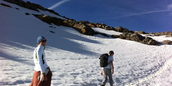 Der Minigletscher ist eher einem Schneefeld ähnlich