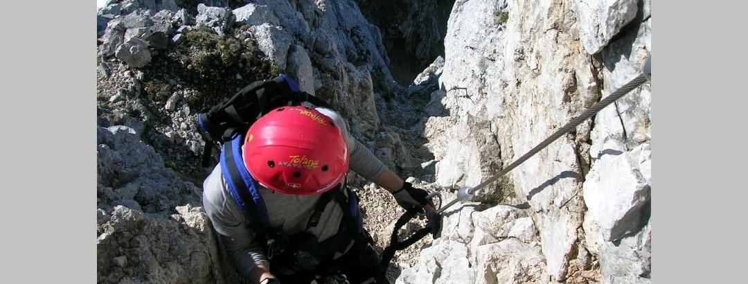 Im Friedberger Klettersteig.