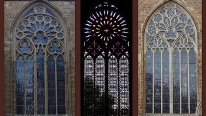 die riesigen Maßwerksfenster am Dom von Minden