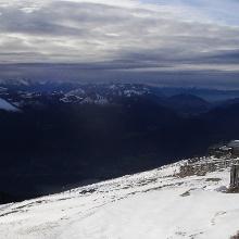 Man kann auch allein am Gipfel sein.
