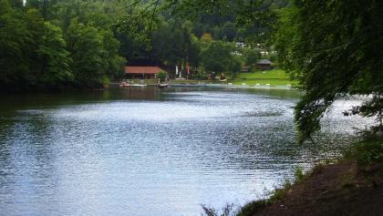 Blick vom Teich auf den Campingplatz.