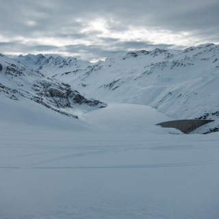 Look down at the Lac de Moiry