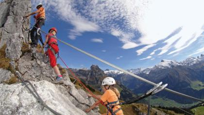 Im Klettersteig am Brunnistöckli über Engelberg