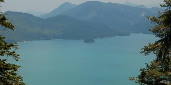 Blick auf den Walchensee mit der Vogelschutzinsel Sassau.