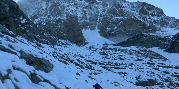 Geröllhänge zum Gletschereinstieg