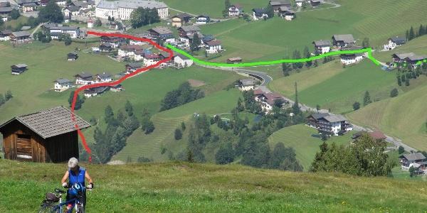 Beginn (rot) und Ende (grün) der Rundtour in Maria Luggau