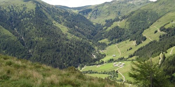 Der Weiterweg ist schon zu sehen, unten die Baumgartenalm, links der Wildkogel