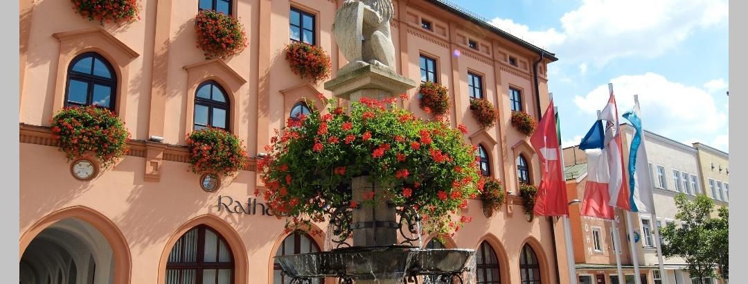 Stadtbrunnen und Rathaus
