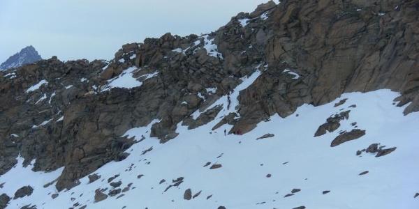 Moränengrat - kurze Kletterstelle