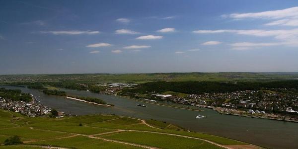 Blick auf Rüdesheim am Rhein, auf der gegnüberliegenden Flussseite von Bingen