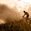 Radfahrer in den Alpen