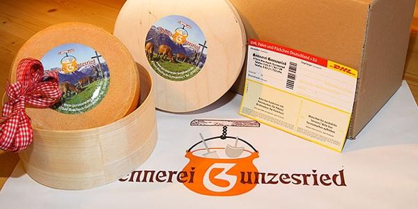 Der Gunzesrieder Käse wird auch per Post versandt