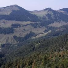 Aussicht auf dem Weg zwischen Spitzsteinhaus und Brandelberg