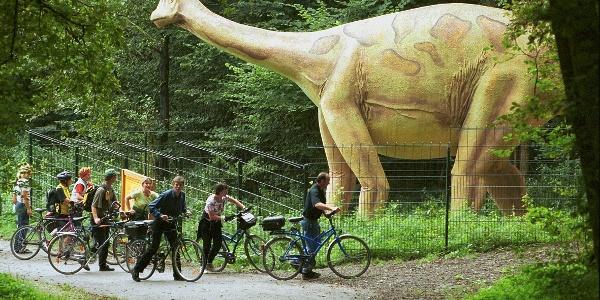 Lebensechte Nachbildung eines Dinosauriers in Bad Essen