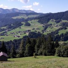 Blick auf Schwarzenberg vom Bergvorsäß