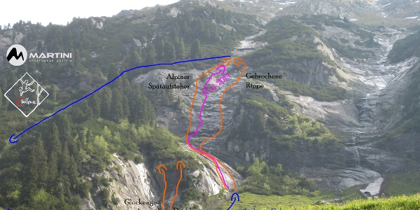 Alpiner Spätaufsteher Topo - Routenskizze mit Zu- und Abstieg