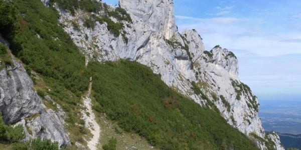 Abstieg von der Hochplattenscharte links des Äußersten Ostgipfels