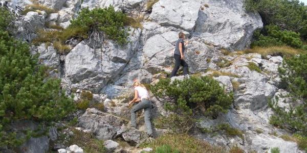 Einstieg in den gesicherten Ostgratsteig