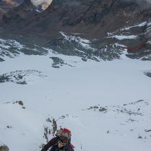 Mit recht viel Neuschnee war es eher ein Schneewühlen als Klettern.