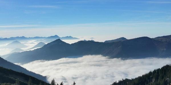 Blick vom Geigelstein zum Spitzstein