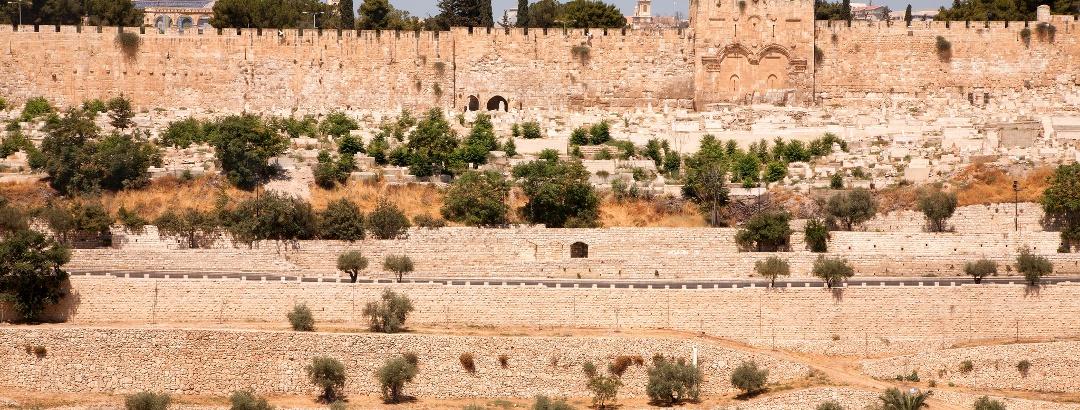 Blick vom Tempelberg im Südostteil der Jerusalemer Altstadt, oberhalb des Kidrontales