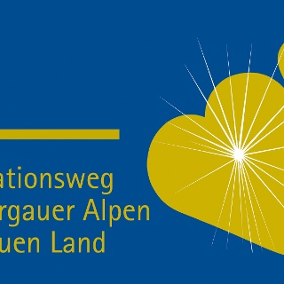 Wegkennzeichen Meditationsweg Ammergauer Alpen im Blauen Land