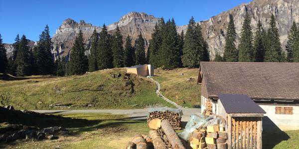 """Startpunkt Unteres Roggenloch mit Urwaldpavillon und Alpwirtschaft """"Unteres Roggenloch"""""""