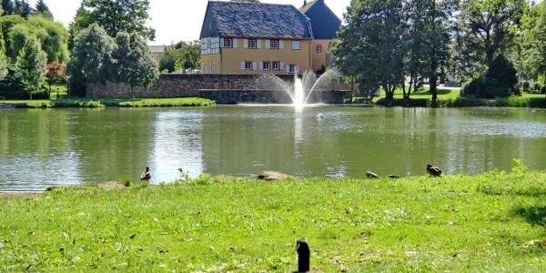 Schlossweiher mit Blick auf die Gustavburg