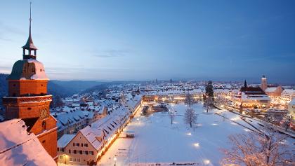 Der Freudenstädter Marktplatz im Winter