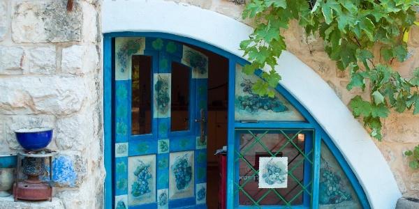 Eingang zu einer Kunstgalerie in Safed
