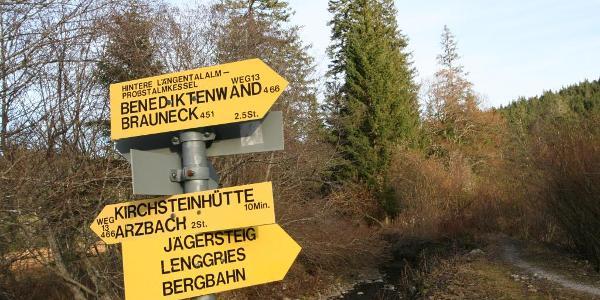 Hier biegen wir Richtung Lenggries/Bergbahn ab