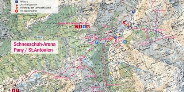 Übersichtskarte 1:50'000 der Schneeschuh-Arena Pany/St.Antönien: An den Startpunkten (Infotafeln) und im Prospekt zu finden.