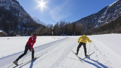 Cross-country ski trail at S. Maria into the Schmelz